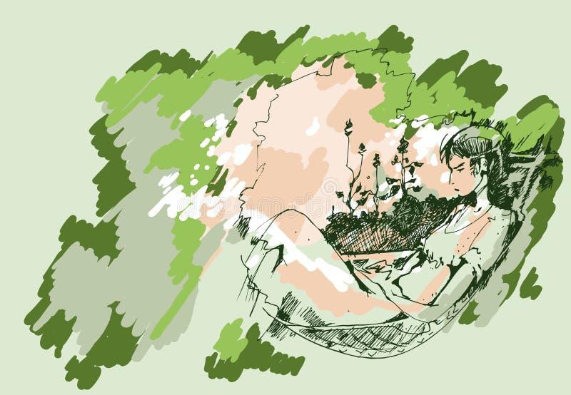 Эскиз девушки в гамаке бесплатная иллюстрация