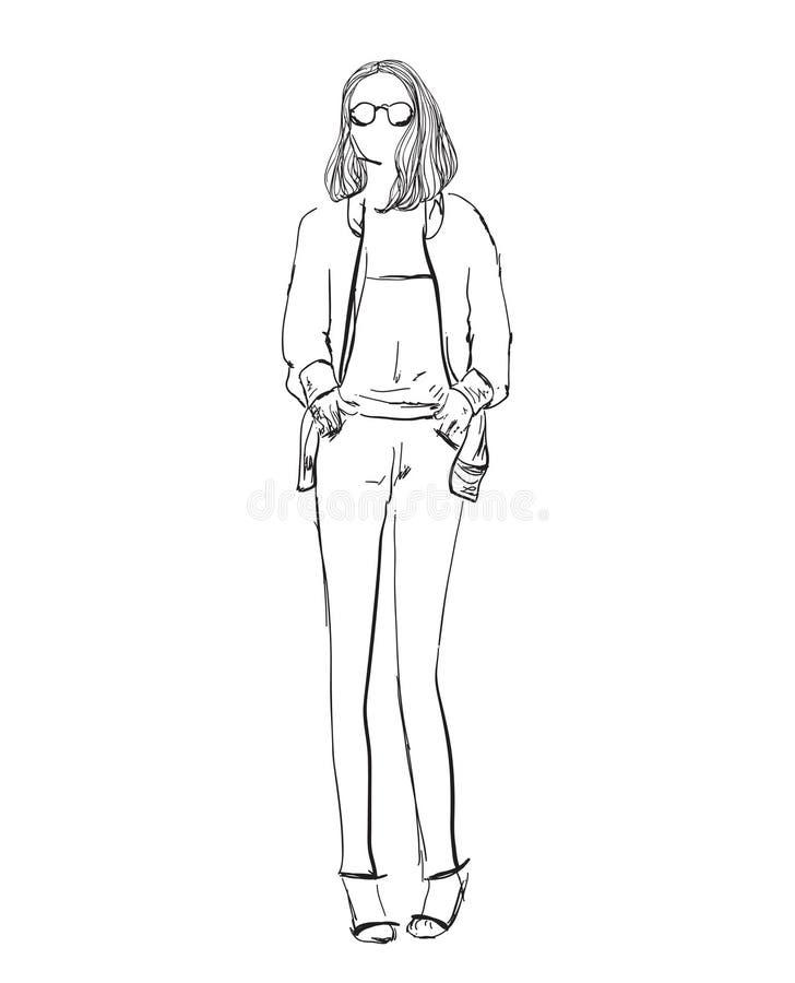 Эскиз девушки моды вычерченная модель руки иллюстрация штока