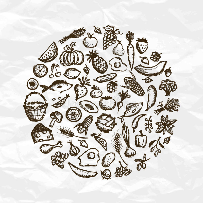 эскиз еды конструкции предпосылки здоровый ваш бесплатная иллюстрация