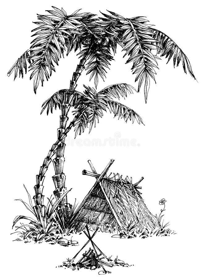 Эскиз летнего лагеря иллюстрация вектора