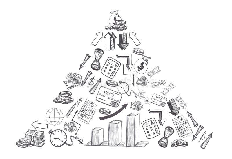 Эскиз дела нарисованного рукой и финансовые doodles сформировали треугольник изолированный на белой предпосылке бесплатная иллюстрация