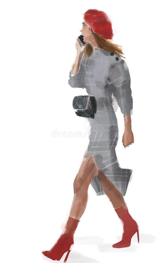 Эскиз женщины моды Чертеж акварели девушки говоря на ее черни/сотовом телефоне стоковые изображения rf