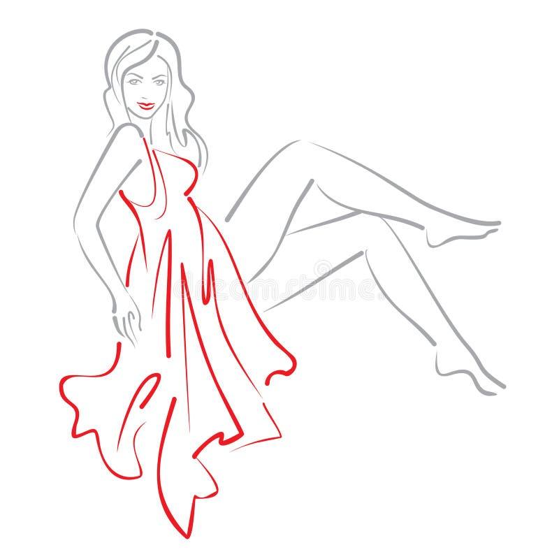 Эскиз женщины сидя в красном платье стоковое изображение rf