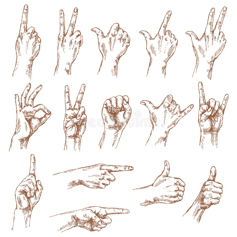 Эскиз жестов рукой бесплатная иллюстрация