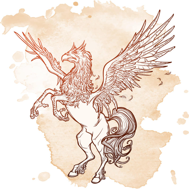 Эскиз зверя Hippogriff или Hippogryph сверхестественный на предпосылке grunge иллюстрация штока