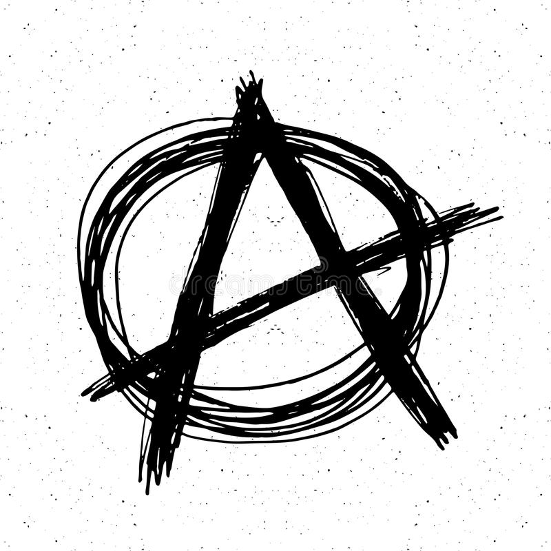 Эскиз знака анархии нарисованный рукой Текстурированный символ панка grunge также вектор иллюстрации притяжки corel иллюстрация штока