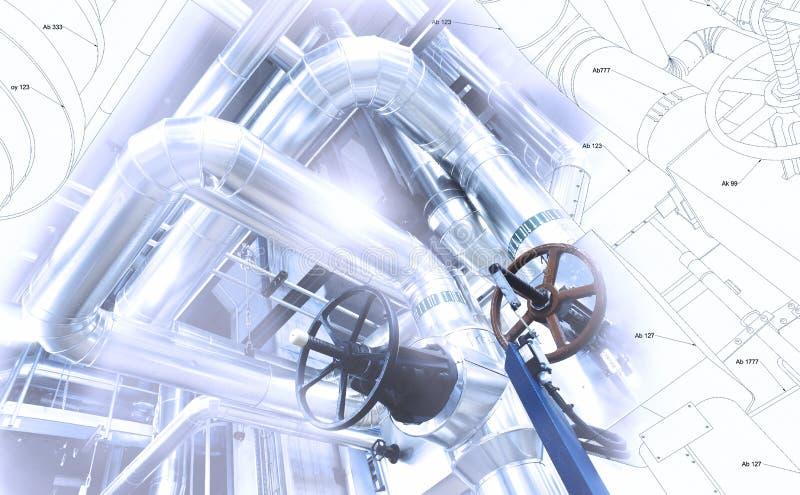 Эскиз дизайна тубопровода смешал к фото промышленного оборудования стоковое изображение rf