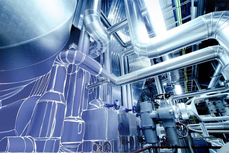 Эскиз дизайна тубопровода смешал к фото электростанции стоковая фотография