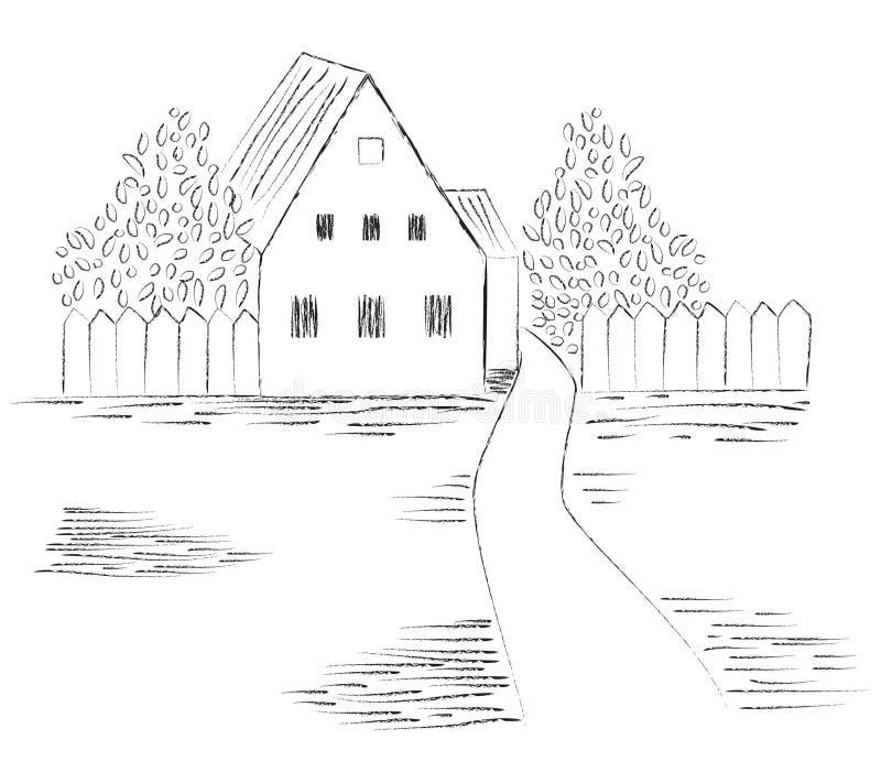 эскиз изображения деревенского дома бесплатная иллюстрация