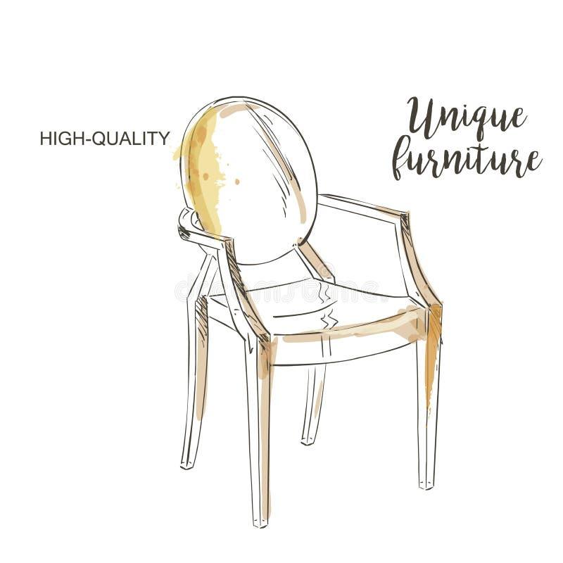 Эскиз изолированный стулом бесплатная иллюстрация