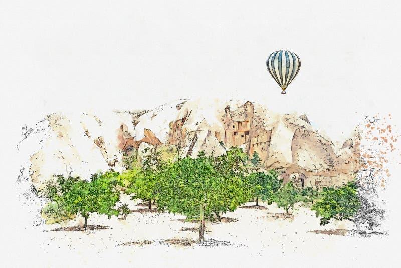 Эскиз или иллюстрация акварели Горячий воздушный шар в небе в Kapadokia в Турции иллюстрация штока