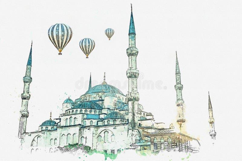 Эскиз или иллюстрация акварели Известная голубая мечеть в Стамбуле также вызвана Sultanahmet индюк иллюстрация вектора