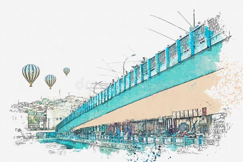 Эскиз или иллюстрация акварели Мост Galata в Стамбуле иллюстрация штока