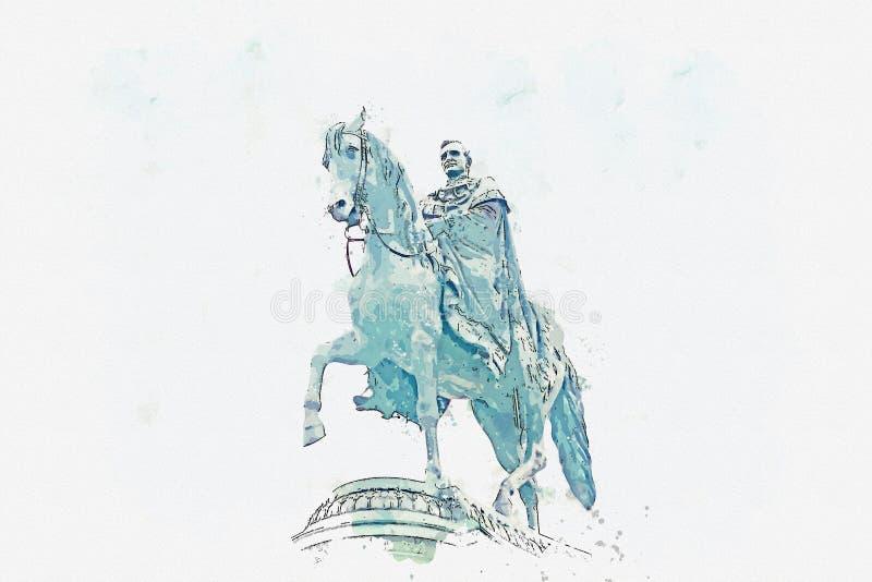 Эскиз или иллюстрация акварели он статуя короля Johann Saxon в Дрездене в Германии бесплатная иллюстрация