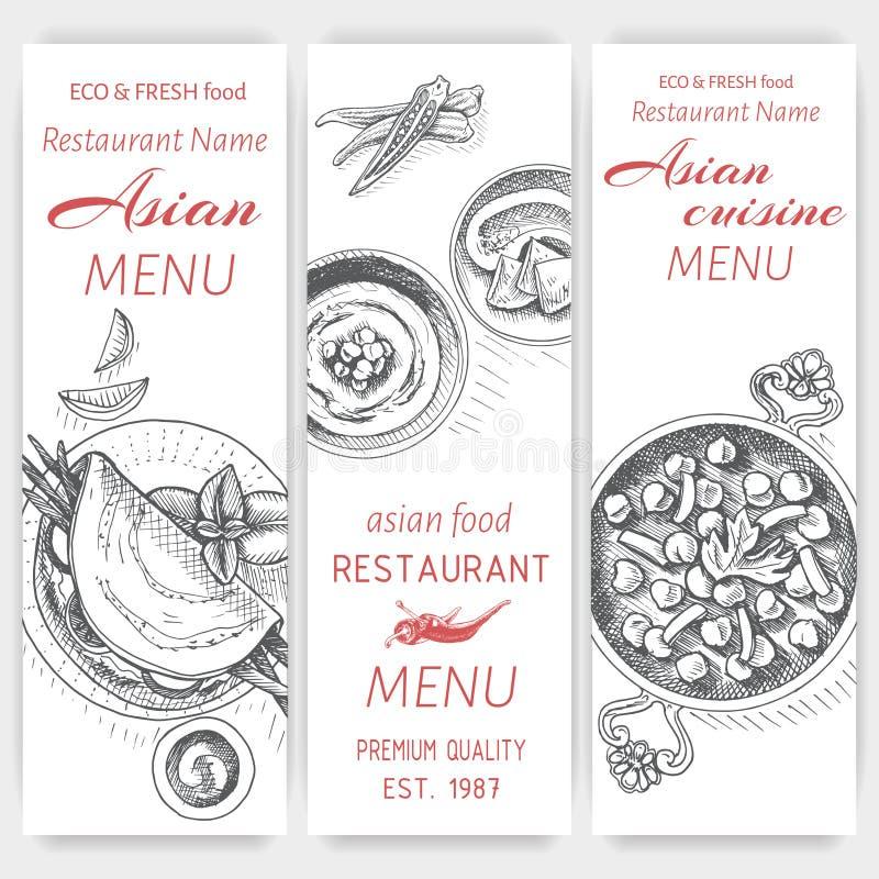 Эскиз иллюстрации вектора - азиатская еда Индеец меню карточки винтажный шаблон дизайна, знамя иллюстрация вектора