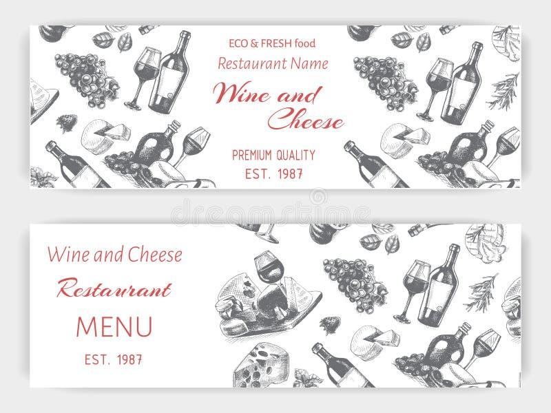 Эскиз иллюстрации вектора - вино и сыр Ресторан меню карты винтажный шаблон дизайна, знамя иллюстрация вектора