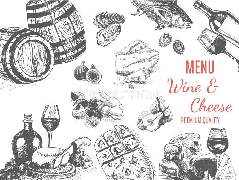 Эскиз иллюстрации вектора - вино и сыр Ресторан меню карты винтажный шаблон дизайна, знамя иллюстрация штока
