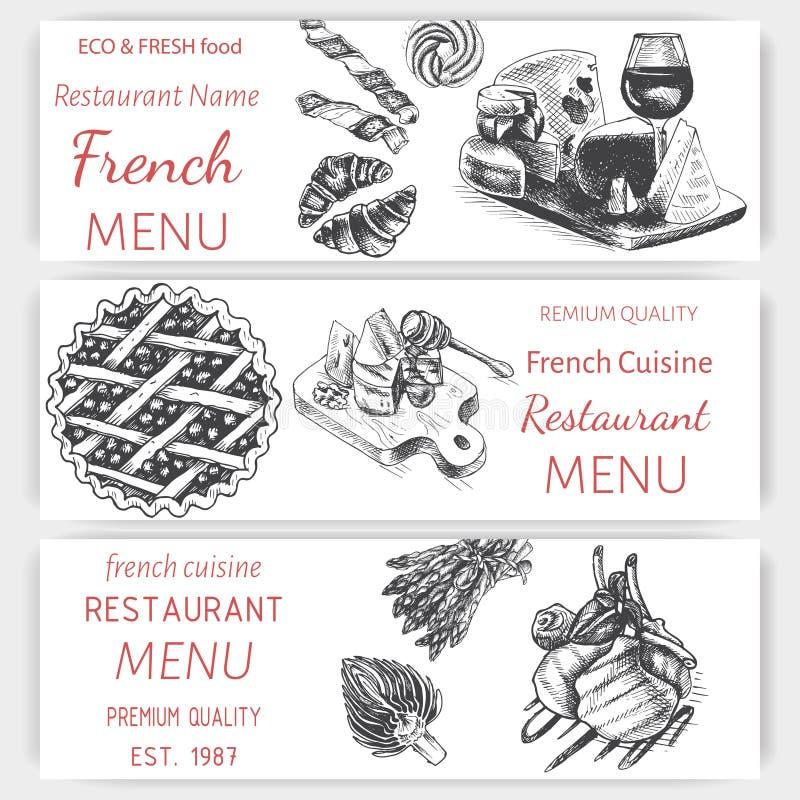 Эскиз иллюстрации вектора - завтрак-обед меню карты завтрака винтажный шаблон дизайна, знамя иллюстрация штока