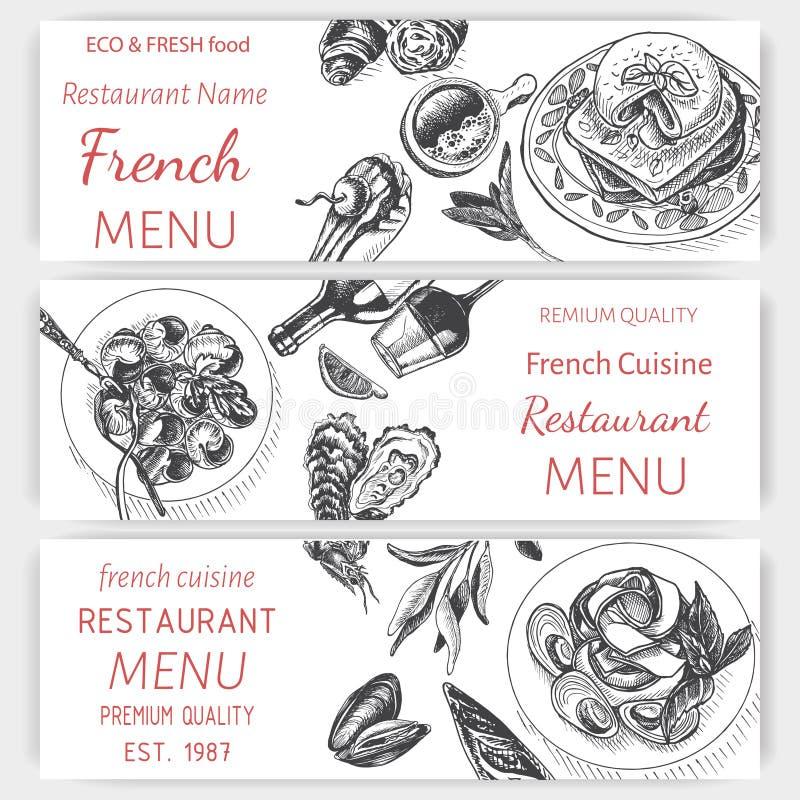 Эскиз иллюстрации вектора - завтрак-обед меню карты завтрака винтажный шаблон дизайна, знамя иллюстрация вектора