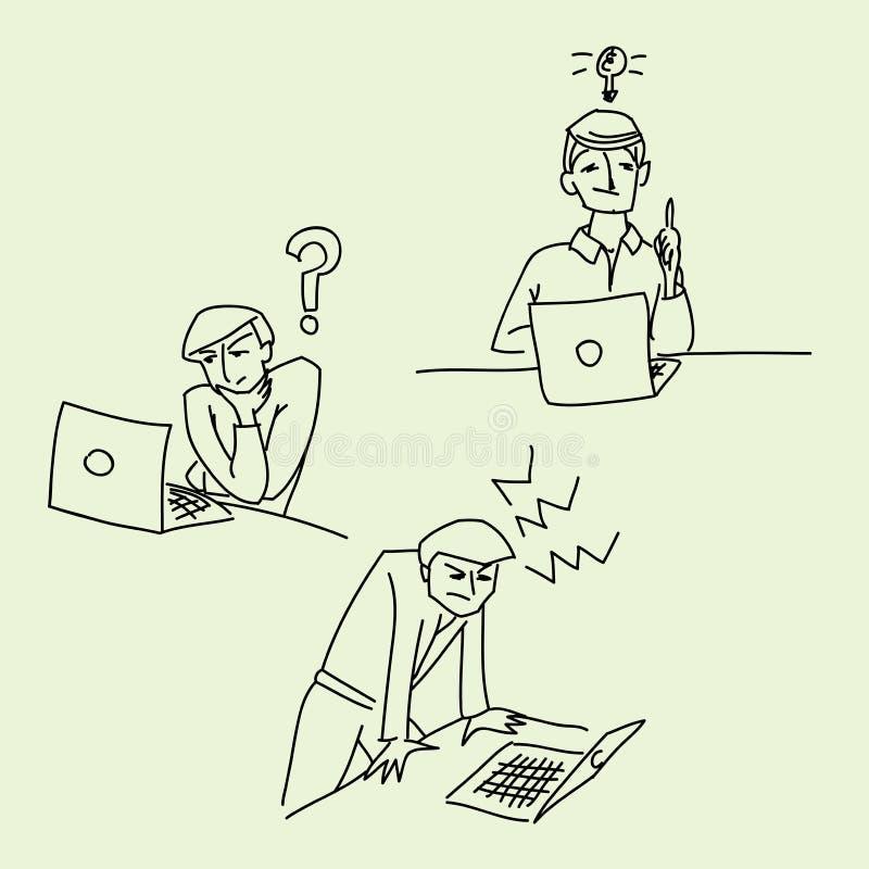 Эскиз иллюстрации вектора идеи стресса вопросе об офиса иллюстрация вектора