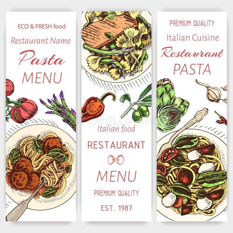 Эскиз иллюстрации вектора - макаронные изделия Ресторан итальянца меню карты Еда знамени italan иллюстрация штока
