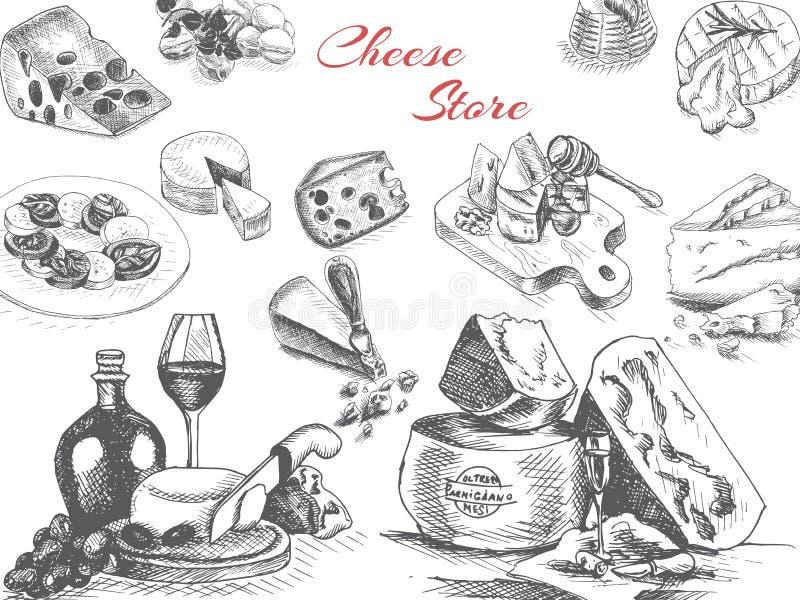Эскиз иллюстрации вектора - сыр provolone, чеддер, Эдамер, пармезан, чеддер, пармезан, камамбер, бри, моццарелла иллюстрация вектора