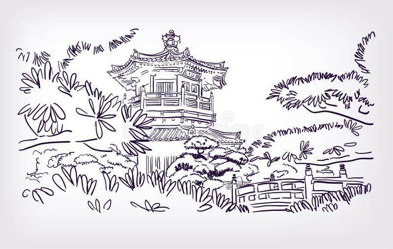 Эскиз иллюстрации Гонконга буддийского виска иллюстрация вектора