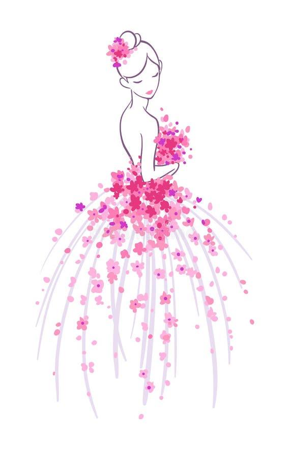 Эскиз искусства невесты с розовыми цветками бесплатная иллюстрация