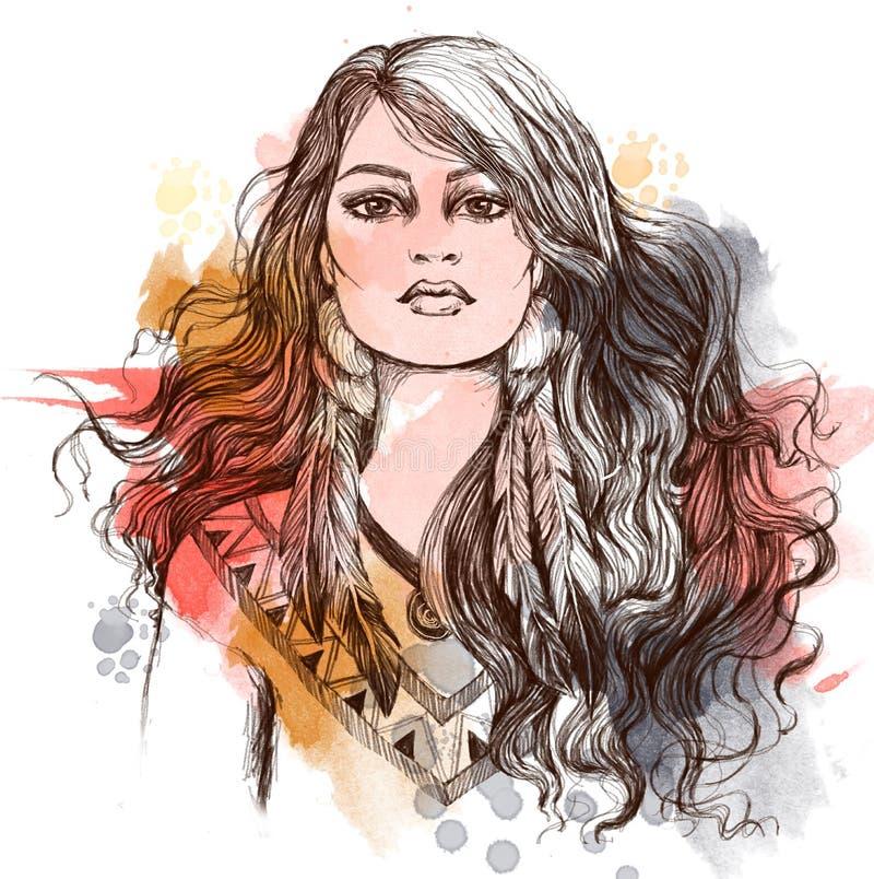 Эскиз искусства татуировки, portret симпатичной американской индийской девушки стоковые изображения