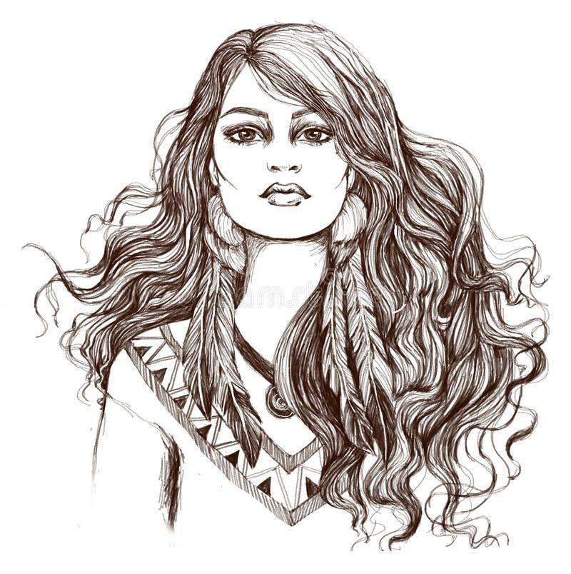 Эскиз искусства татуировки, portret симпатичной американской индийской девушки иллюстрация вектора