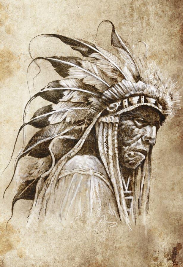 Эскиз искусства tattoo, индейца коренного американца иллюстрация вектора