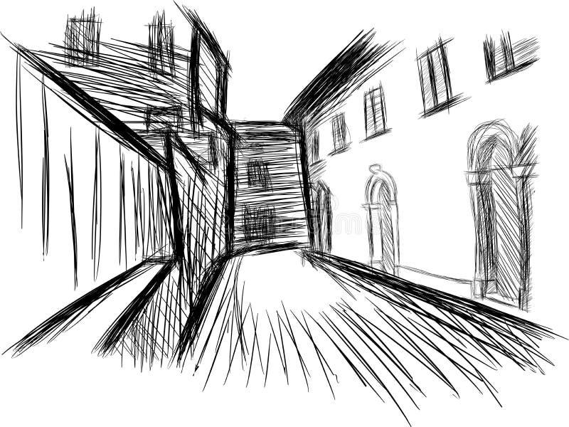 Эскиз исторической деревни иллюстрация штока