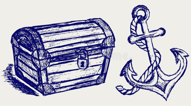 Эскиз и анкер комода иллюстрация вектора