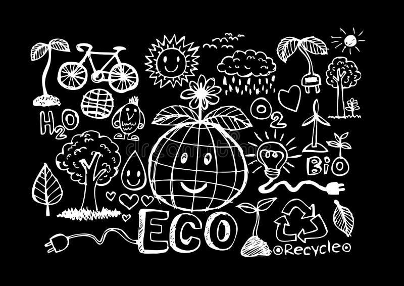 Эскиз идеи Eco и Doodles Eco дружелюбные иллюстрация вектора