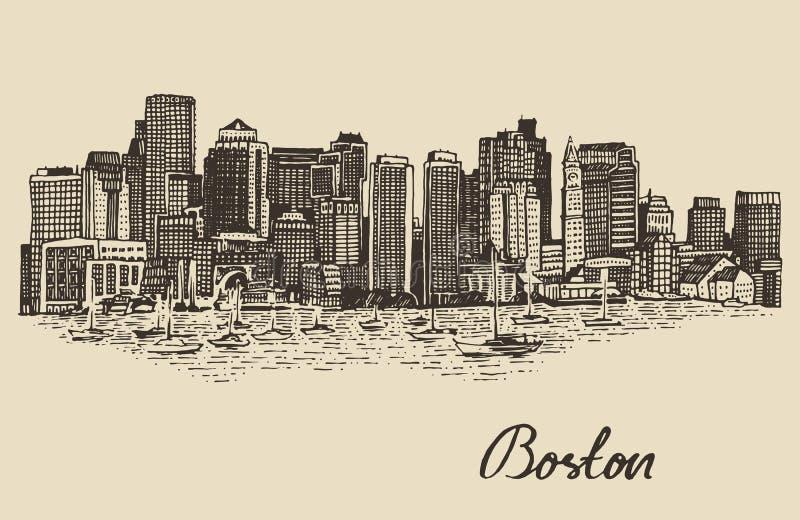 Эскиз иллюстрации вектора горизонта Бостона винтажный стоковые фото