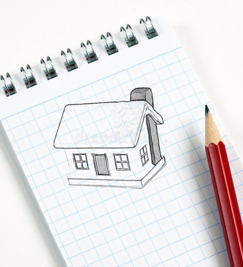 эскиз карандаша дома стоковые изображения