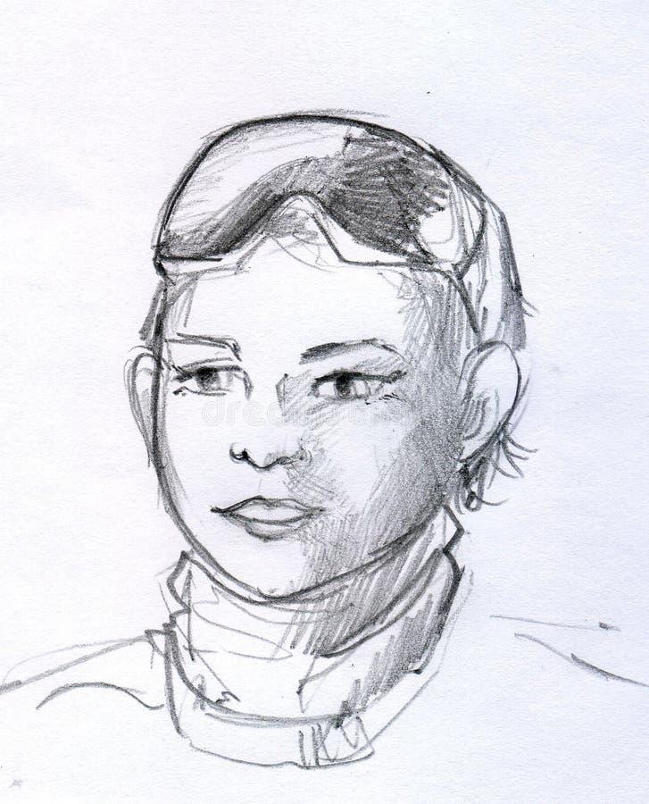 Эскиз карандаша мальчика с стеклами иллюстрация вектора