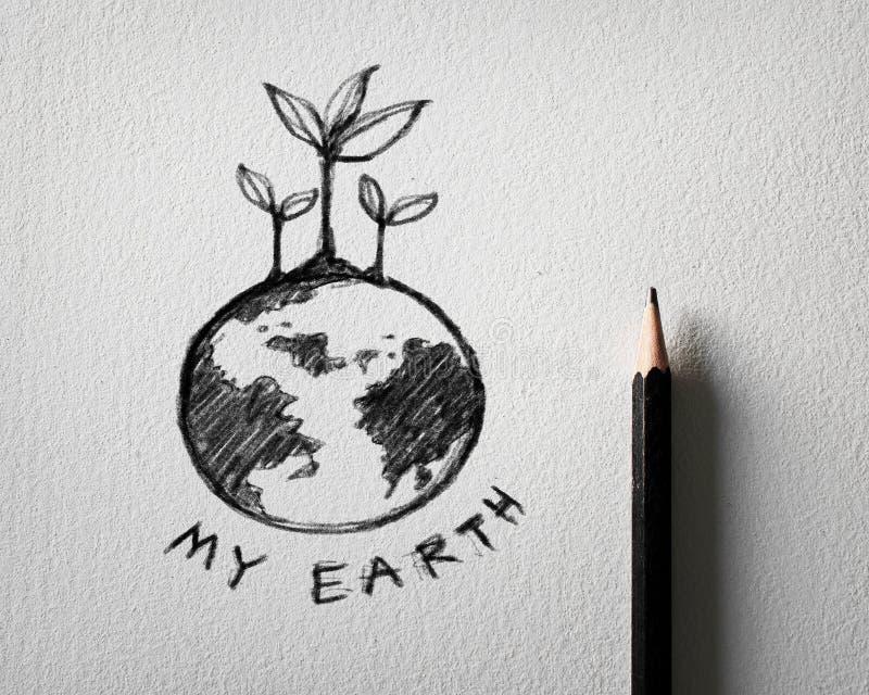 Эскиз концепции земли на белой бумаге стоковые фотографии rf