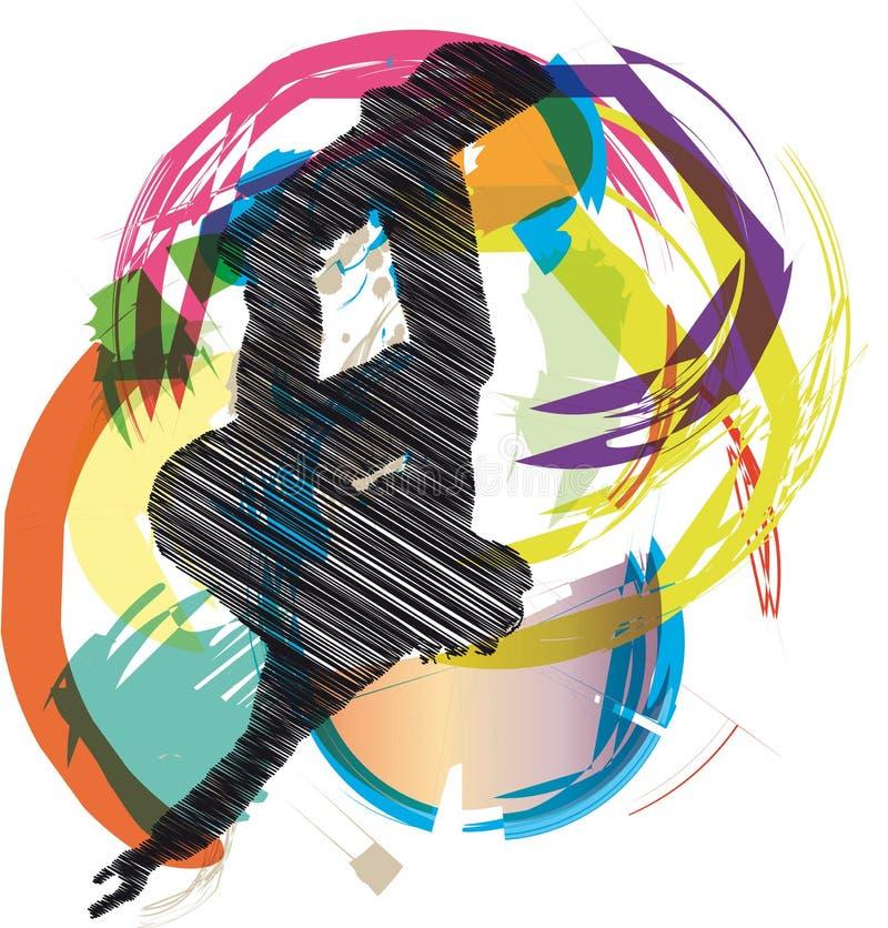эскиз конькобежца иллюстрация вектора