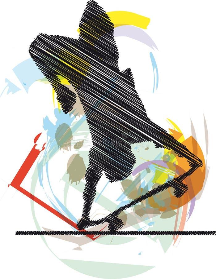 эскиз конькобежца бесплатная иллюстрация