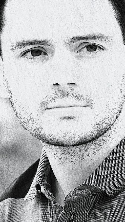 Эскиз красивого мужчины стоковые фотографии rf