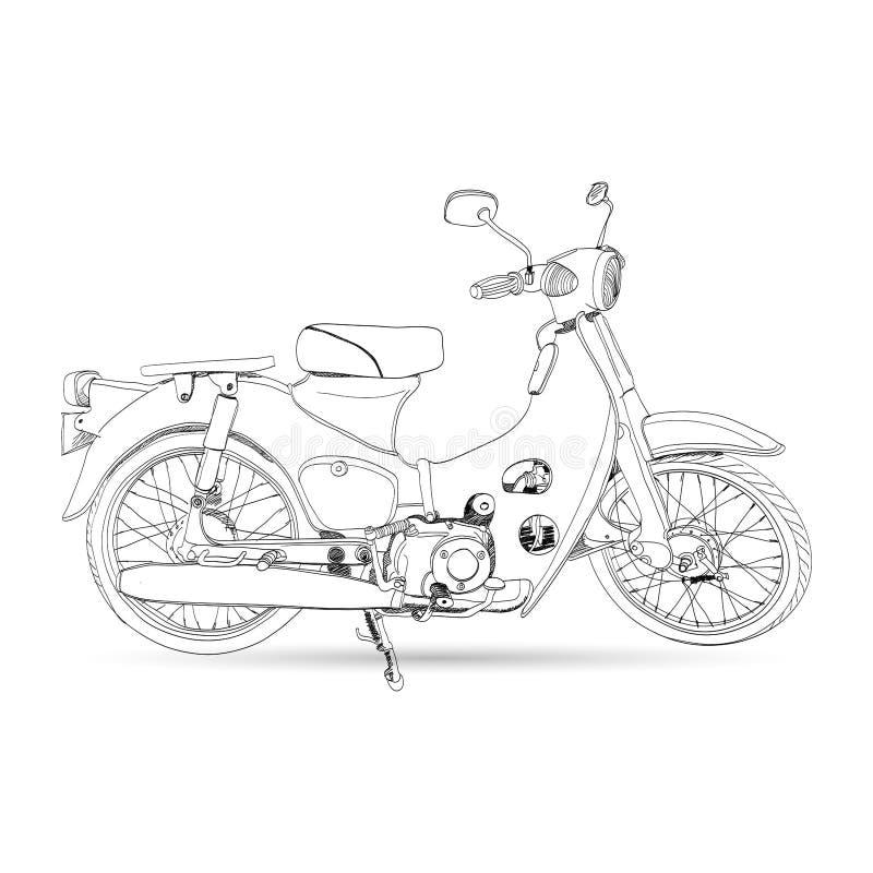 Эскиз классики мотоцикла иллюстрация штока