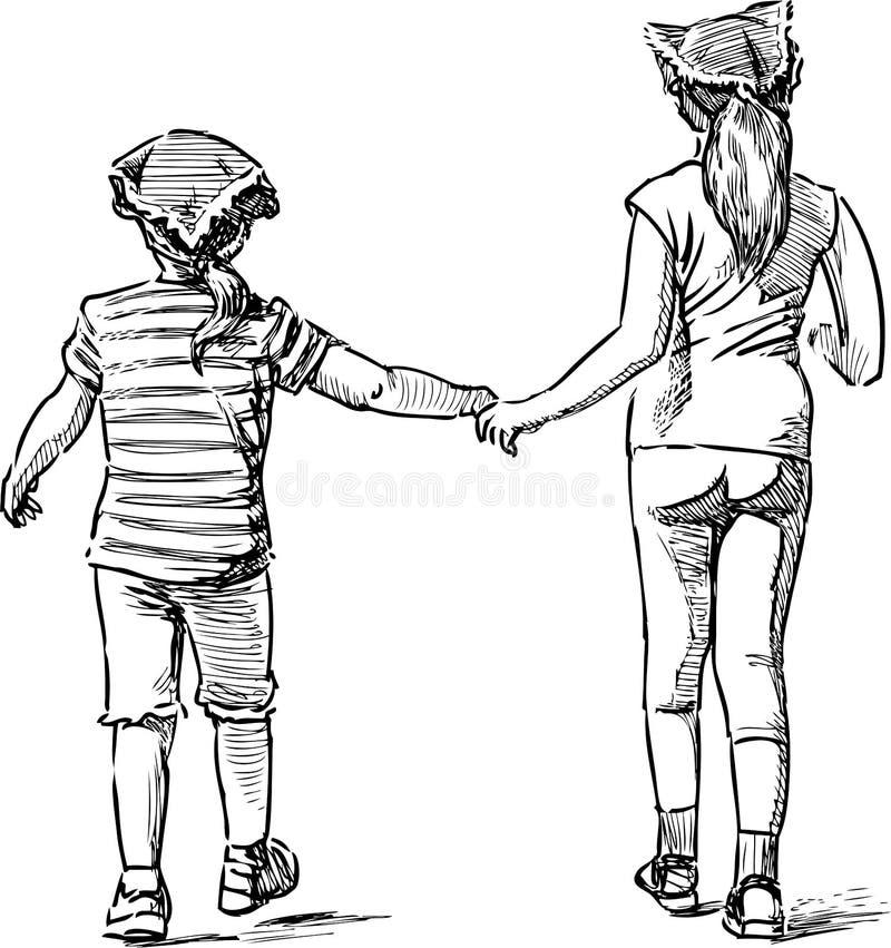 Эскиз 2 маленьких девочек идя для прогулки бесплатная иллюстрация