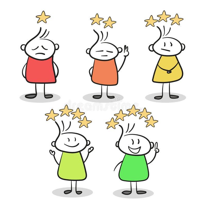 Эскиз маленьких людей с звездами оценки Нарисованный рукой вектор шаржа иллюстрация вектора
