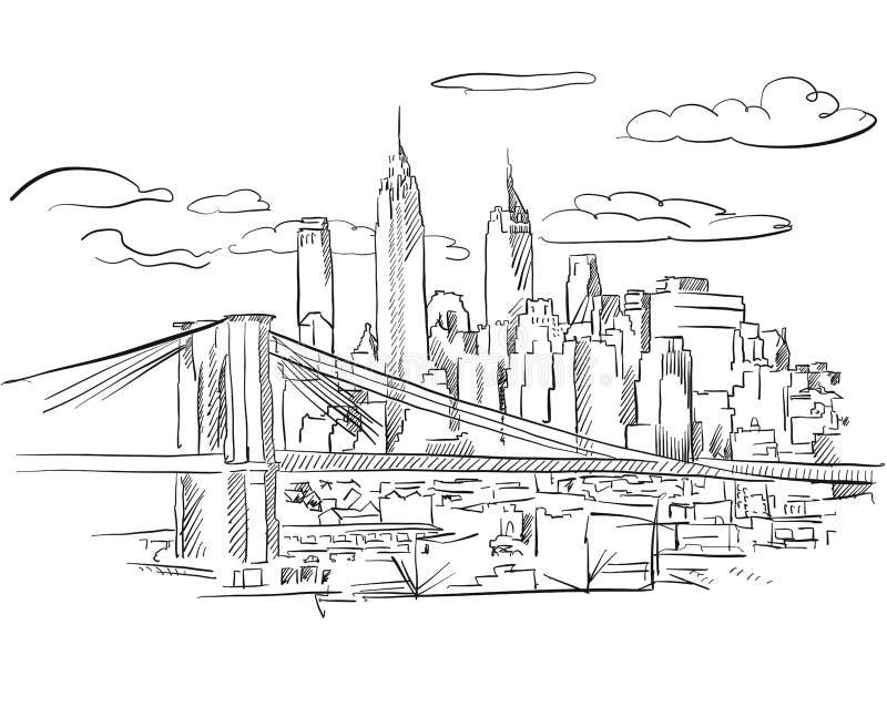 Эскиз Манхаттана и Бруклинского моста детальный иллюстрация вектора