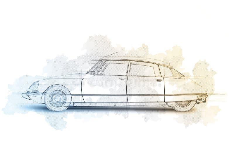 Эскиз модернизированного французского автомобиля 1968 стоковые изображения