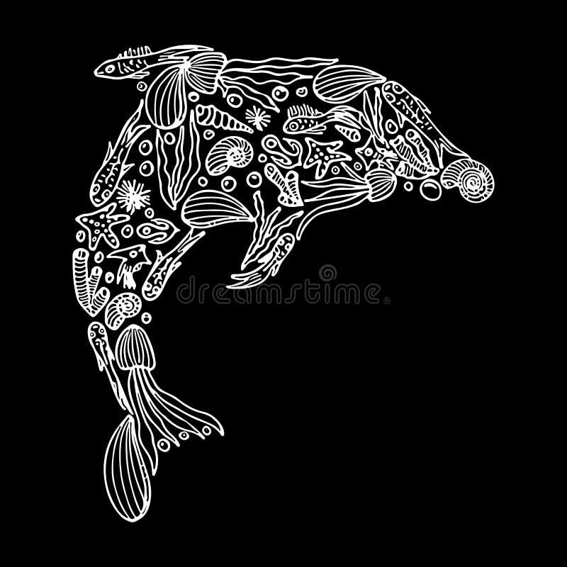 Эскиз морской флоры и фауны в форме дельфина изолированного на черной предпосылке Набор руки вычерченный морской Набор Doodle иллюстрация вектора