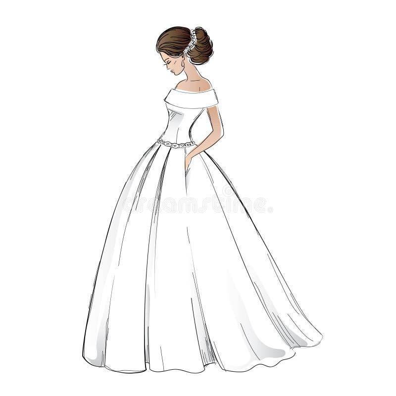 Эскиз молодой модели невесты в платье свадьбы иллюстрация вектора