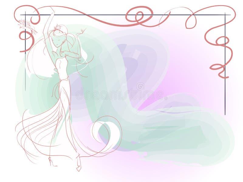 Эскиз молодой невесты бесплатная иллюстрация