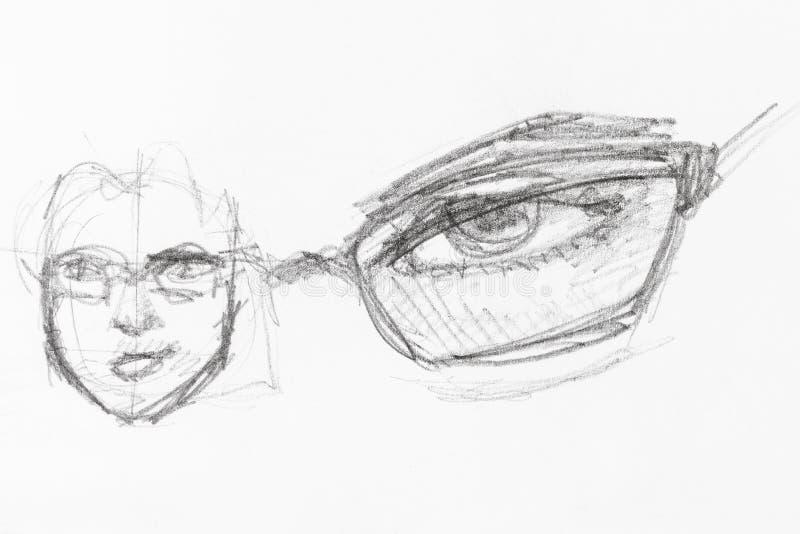 Эскиз мужских головы и глаза под зрелищем бесплатная иллюстрация